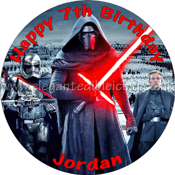 STAR WARS FORCE AWAKENS KYLO REN PERSONALISED CAKE TOPPER